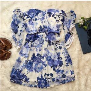 Blue and white floral off shoulder dress